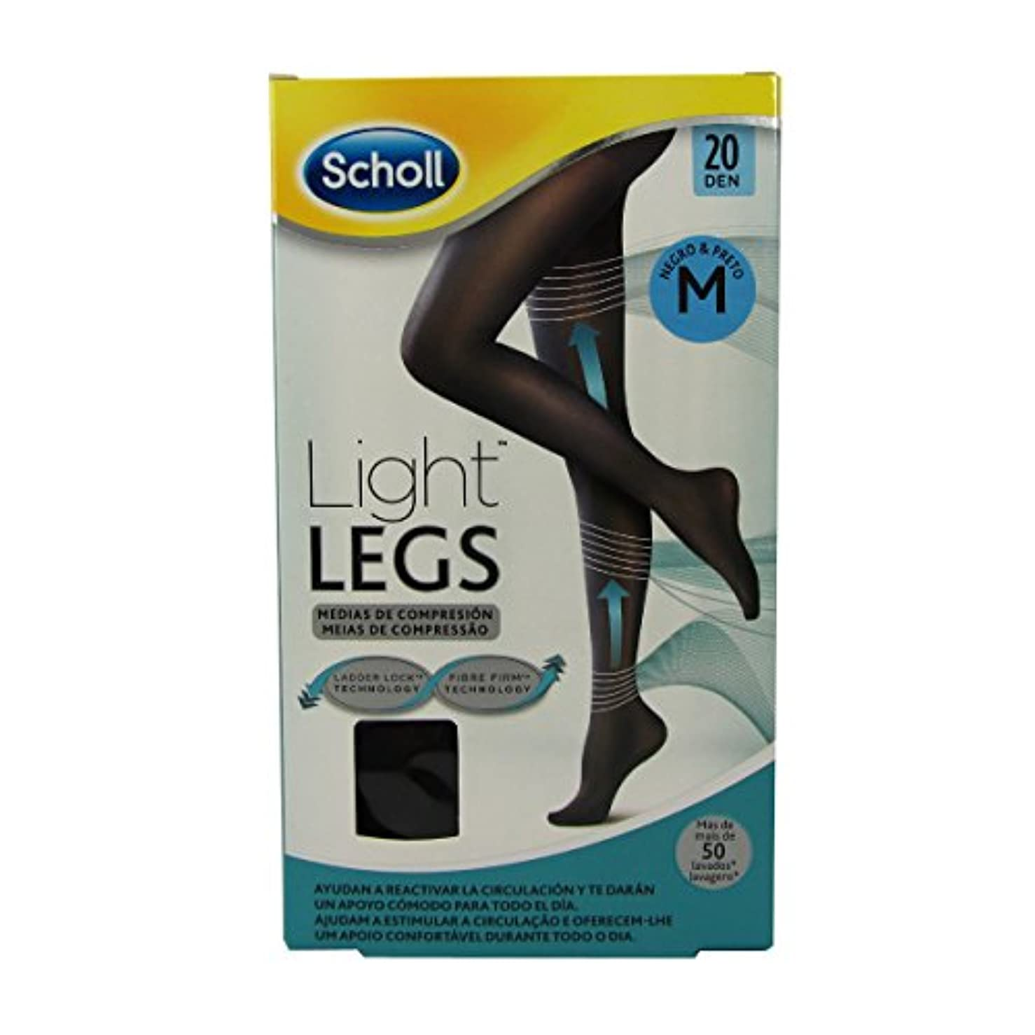 Scholl Light Legs Compression Tights 20den Black Medium [並行輸入品]