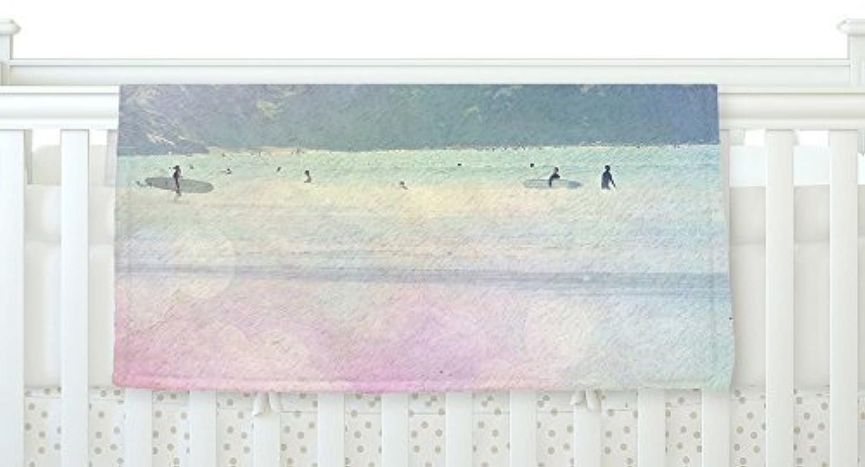 KESS InHouse Sylvia Coomes Rainbow 3 Multicolor Pastel Fleece Baby Blanket 40 x 30 [並行輸入品]