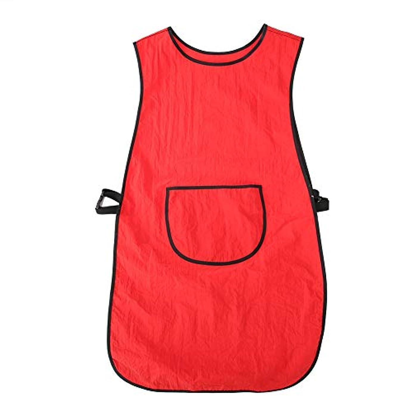 プロのサロンケープ、シンプルなスタイルの防水耐油性帯電防止サロンケープ理容理髪ヘアカットラップ(赤)