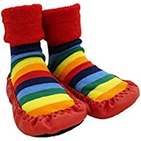Baby Rainbow Stars Thick Winter Anti-Slip Shoes Socks Moccasins Age 1 2 3