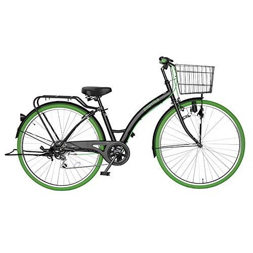 自転車 27インチ シティ車 外装6段ギア おしゃれなカラータイヤ paprika パプリカ シティサイクル グリーン 緑
