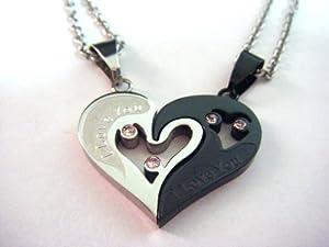 カップル の愛の証に ハート 型 ペア ネックレス I Love You 刻印付 ( シルバー ・ ブラック ) 高級ベロア調保存ポーチ付