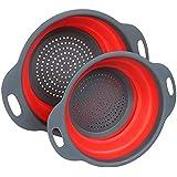 Cerberus & Co. Collapsible Colander Set of 2, BPA Free, Eco-Friendly, Dishwasher Safe, Kitchen Vegetable Fruit Strainer (Red)