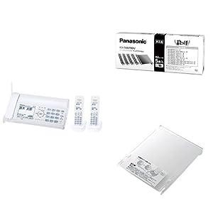 パナソニック デジタルコードレスFAX 子機2台付き ホワイト KX-PD305DW-W + 純正インクフィルム 5本 + 記録紙カバー セット