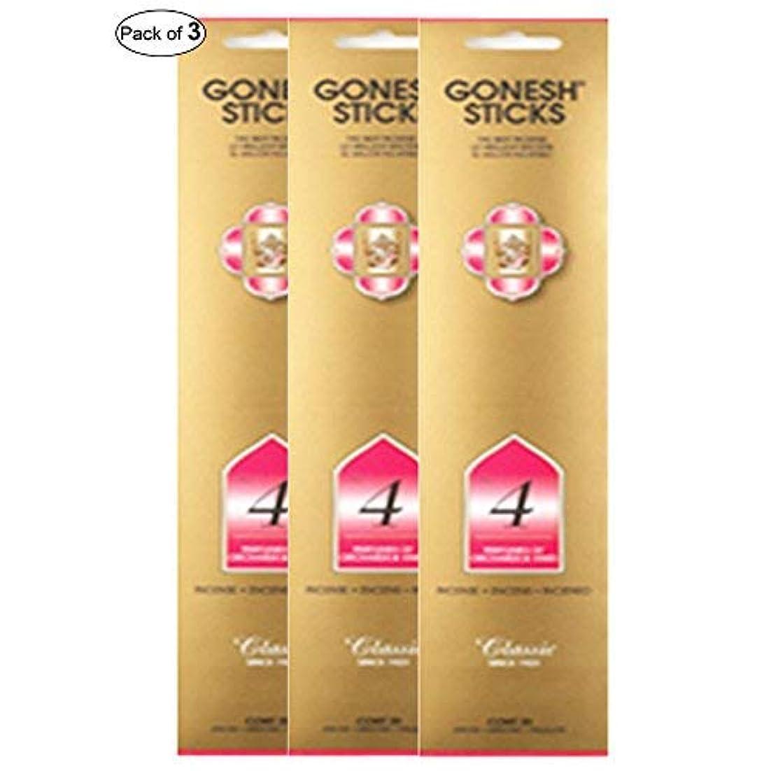 気味の悪い原因ラケットGonesh Incense No 4- Perfumes of Orchards & Vines (20 Sticks in 1パック) (パックof 3 )