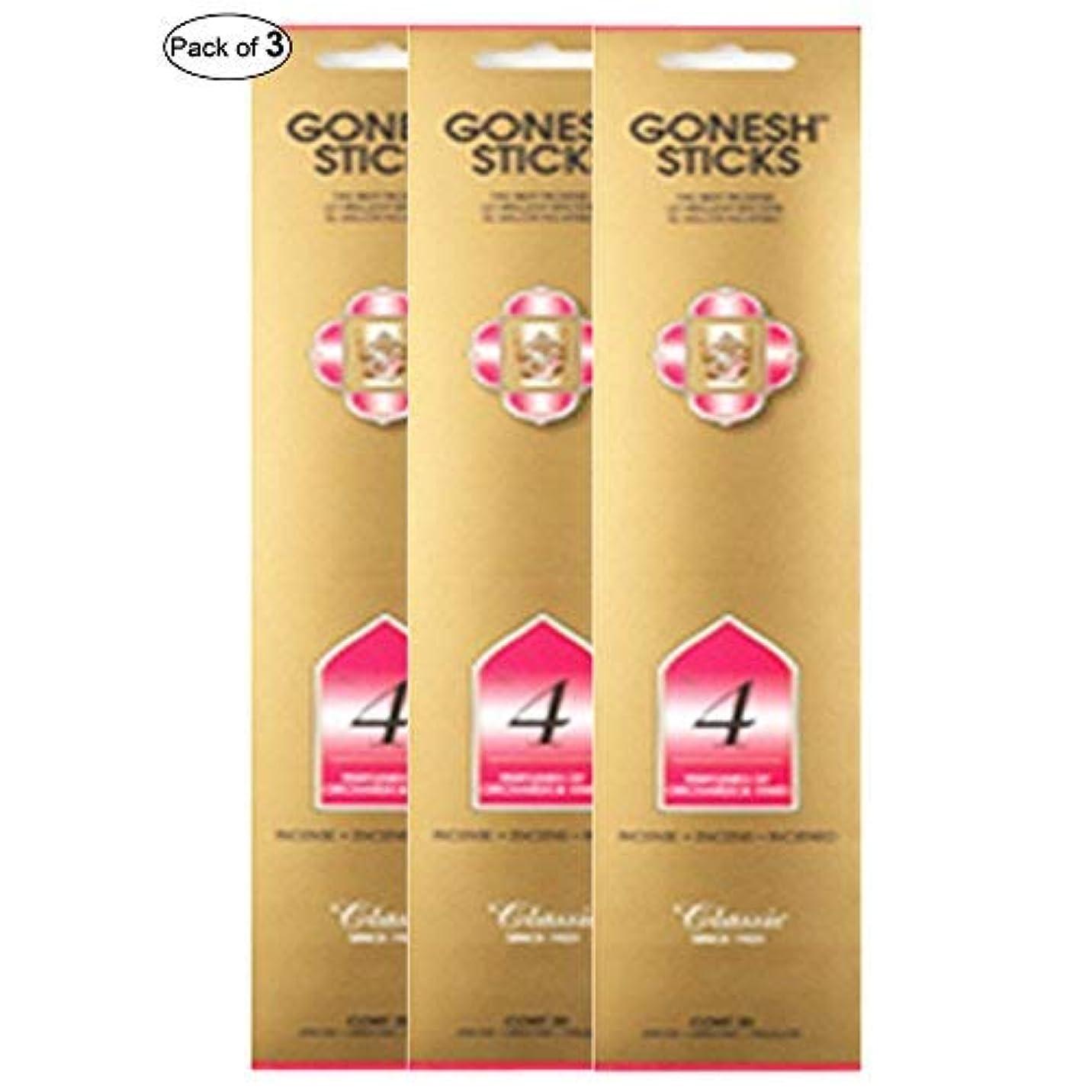 授業料忘れっぽい遠いGonesh Incense No 4- Perfumes of Orchards & Vines (20 Sticks in 1パック) (パックof 3 )