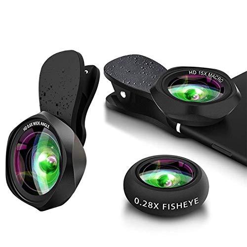 スマホレンズ クリップ式 0.6倍広角レンズ 15倍マクロレンズ 180°魚眼レンズ 高画質カメラレンズキット 自撮り ワイド 接写 スマホ用カメラレンズセット iphone Xperia Android全機種対応 簡単装着 携帯レンズ 3in1(広角+マクロ+魚眼)
