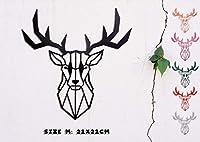 ブリンバーグ - 壁の彫刻 - 3D折り紙ポリゴン - ホームアートの装飾 - 手作りの木 - 鹿の頭(鹿M 21 x 21 cm、黒)