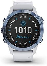Garmin Fenix 6 Pro Solar, Premium Multisport GPS Smartwatch, Mineral Blue With Whitestone Band