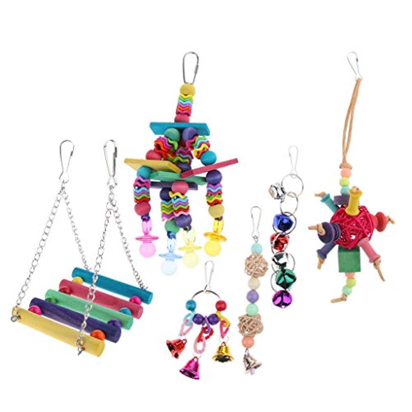 真実に湿った沼地オウムおもちゃセット 咀嚼玩具 スイングおもちゃ 籐ボール 吊りおもちゃ ストレス解消 6点セット