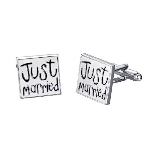 【Yoursfs】 カフスボタン ステンレス JUST MARRIED メンズアクセサリ 四角 結婚式 贈り物 カフス C437W1