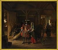 フレーム Pieter de Hooch ジクレープリント キャンバス 印刷 複製画 絵画 ポスター(ホステスの支払い)