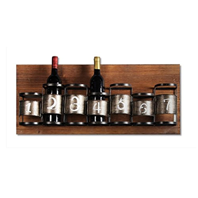 レトロ壁掛け木製ワインラックレストランバーのための7つのボトルを保持する毎日の家具(サイズ:78 * 10.5 * 33センチメートル)