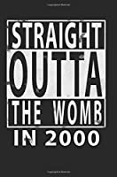 Straight Outta The Womb in 2000: Blank Lined Journal - 6x9 Birthday Journals, Birthday Notebook