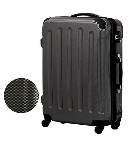 スーツケース 超軽量ファスナー 【1年保証】5780 キャリーケース キャリーバッグ キャリーバック 旅行かばん 小型 中型 大型 (S, カーボンブラック)
