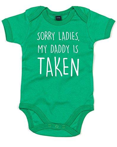 (ごめんなさい、私のパパは予約済み。) Sorry Ladies, My Daddy Is Taken, プリント ベビースーツ - グリーン/白 12-18 ヶ月 -