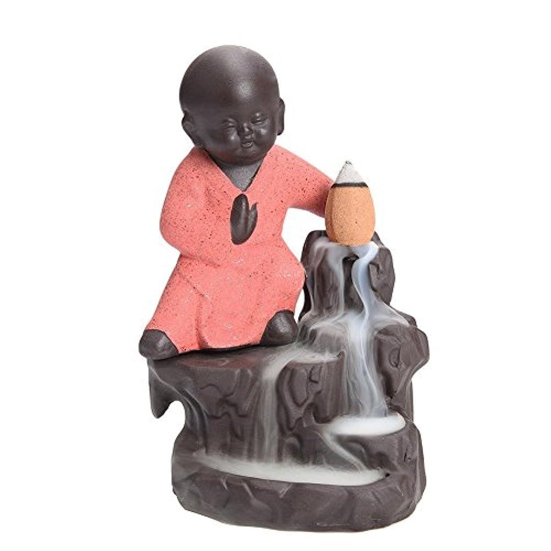 神聖原始的なささやき逆流香炉タワーCones Sticks Little Monkホルダーセラミック磁器Buddha Monk AshキャッチャーbySimon & # xff08 ;ピンク& # xff09 ;