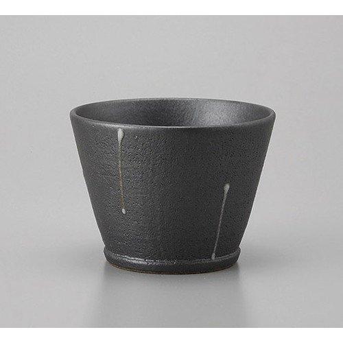 ロックカップ 黒一珍陶コップ [10.5 x 7.7cm 360cc] 土物 料亭 旅館 和食器 飲食店 業務用