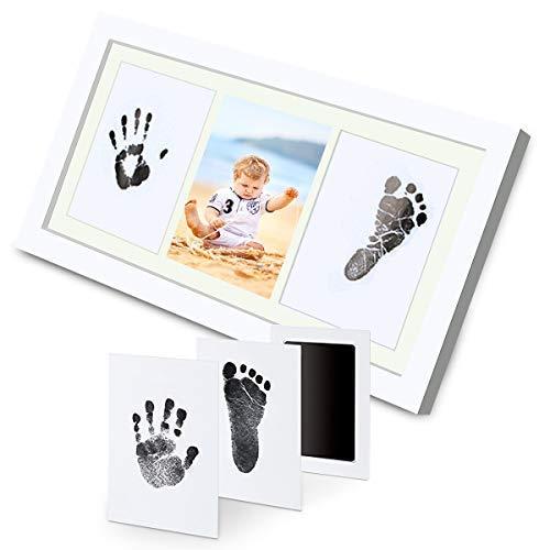 ESONstyle ベビー写真立て 3秒で出来上がる 赤ちゃん 手形足型 インクパット 手足を汚せず フォトフレーム 出産祝い 内祝い 新生児の成長記念の第一歩 100日の記念 環境に優しい 安全で安心 インテリア ベビーギフト ペットにも適用 木製フレーム (フォトフレーム+インクパット)