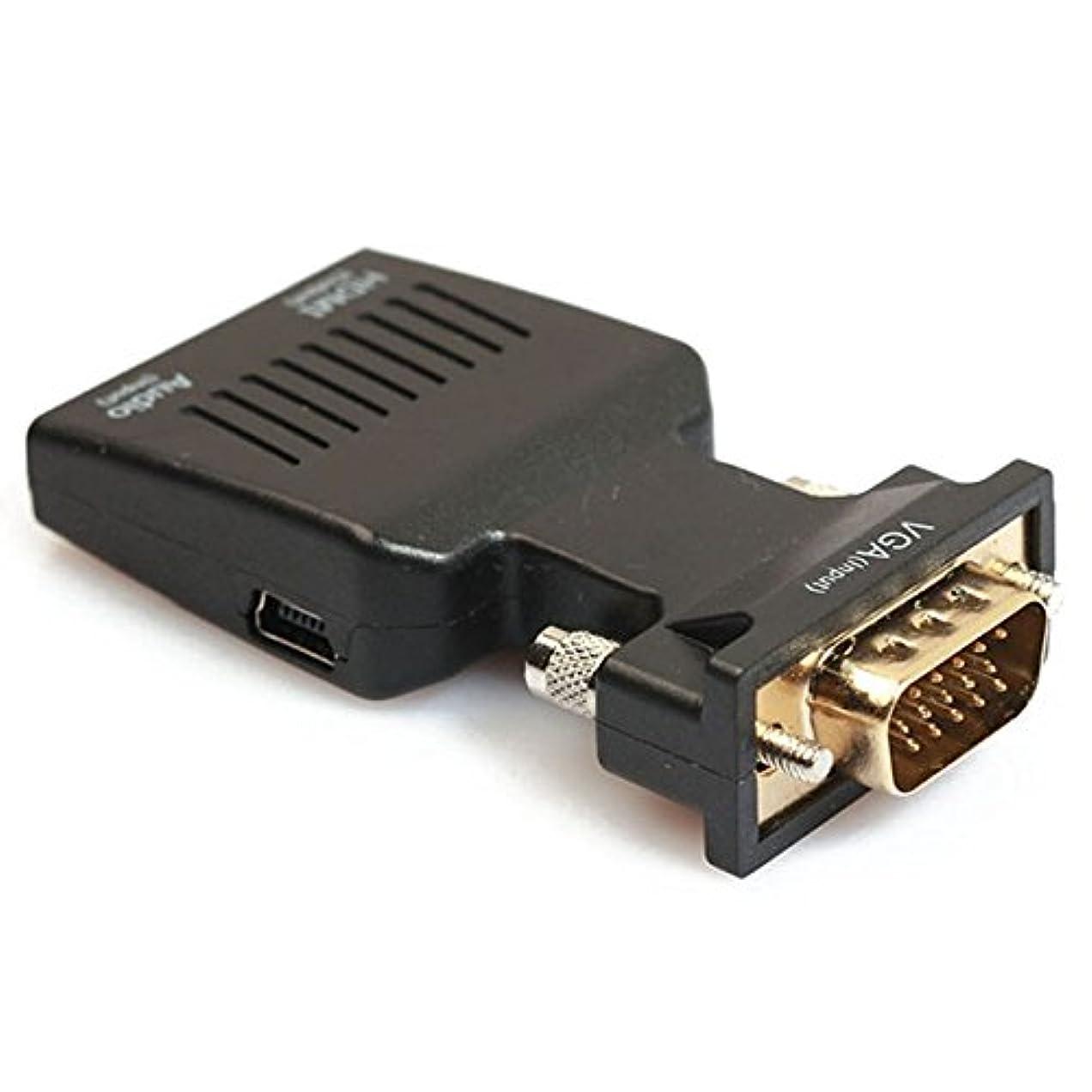 現金強風しつけSODIAL 1080P VGAオス~HDMIメス ビデオアダプタ w/ 3.5mmオーディオ/ミニUSB - ブラック