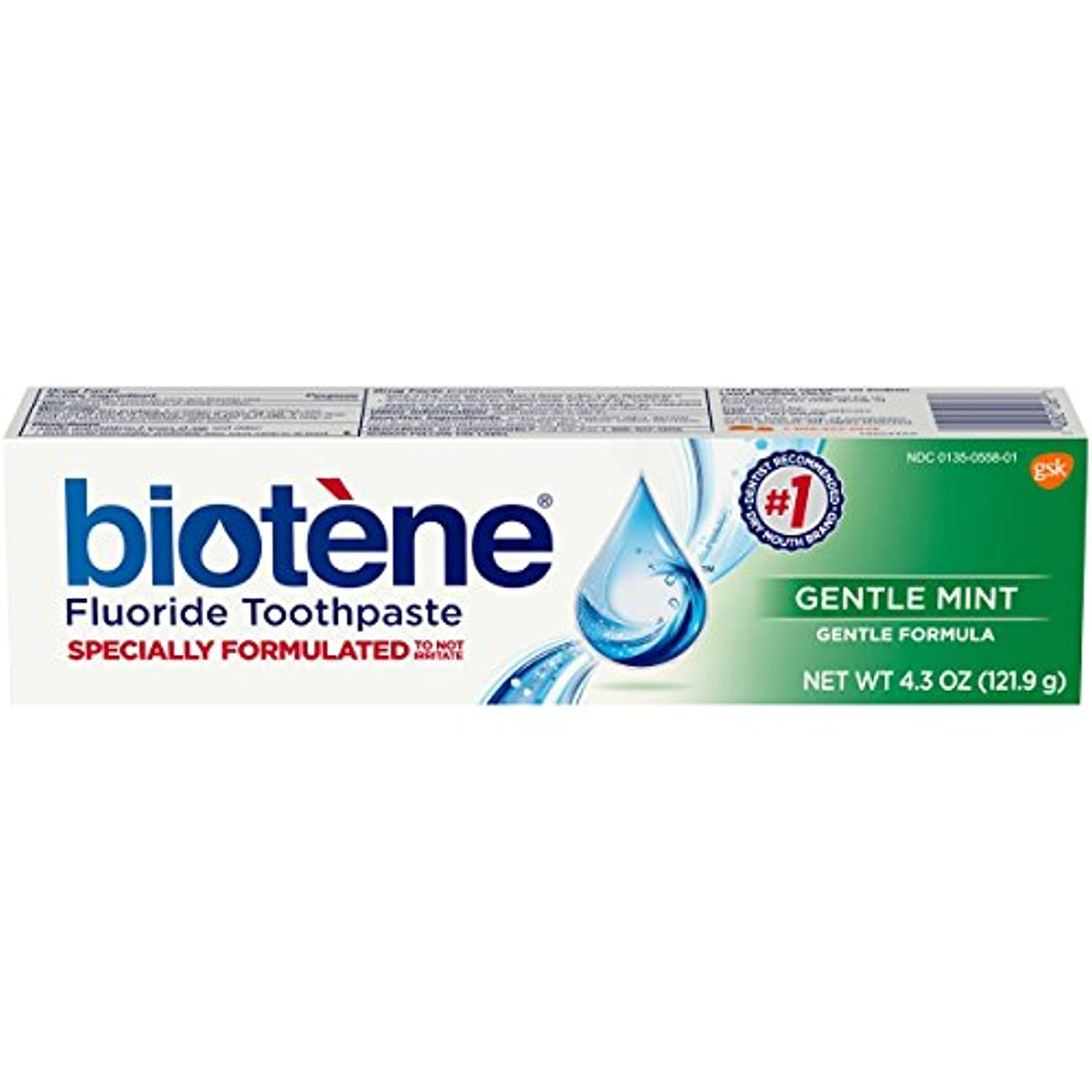 時々時々粒子ブルゴーニュBiotene Toothpaste Gentle Mint Fluoride 4.3 Oz, by Biotene