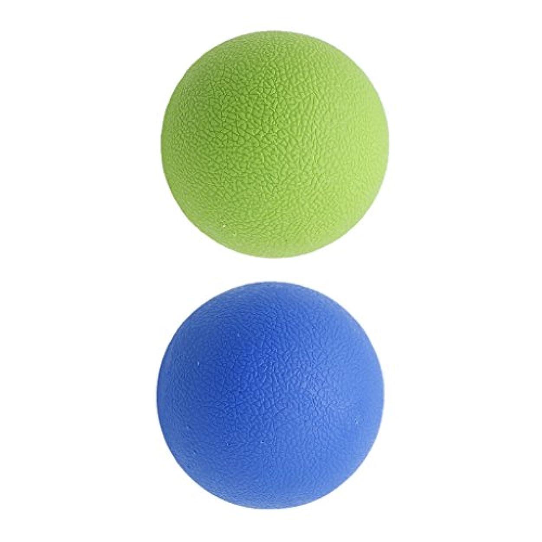 Kesoto 2個 マッサージボール ラクロスボール 背部 トリガ ポイント マッサージ 多色選べる - ブルーグリーン