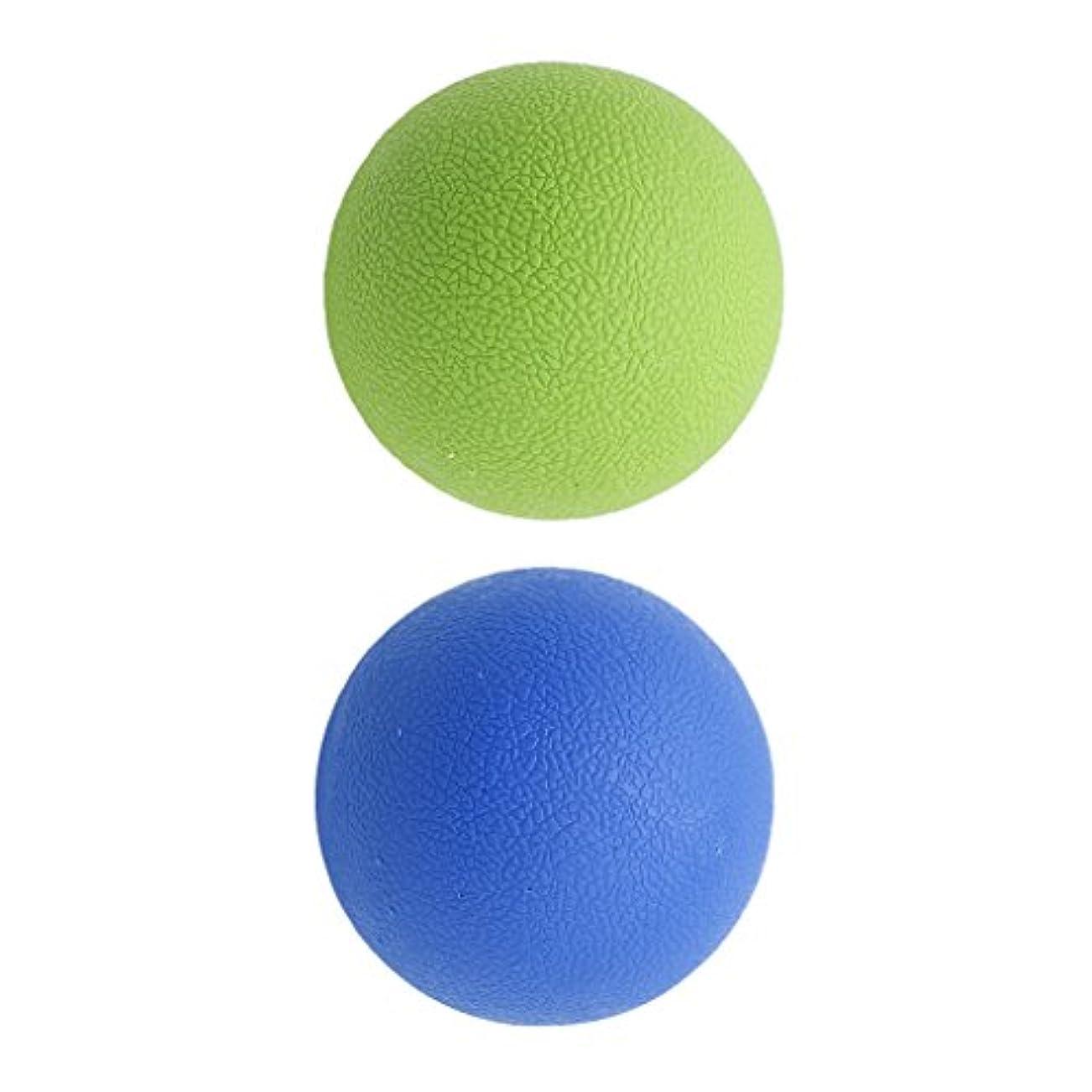 行違法出費2個 マッサージボール ラクロスボール 背部 トリガ ポイント マッサージ 多色選べる - ブルーグリーン