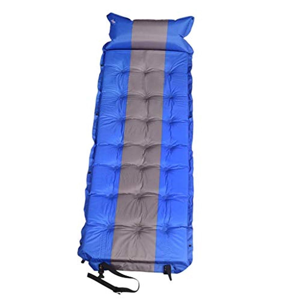 漫画説得喜劇Prettyia アウトドア膨らませるキャンプ用防湿マット 折りたたみ式マットレス寝パッド 枕付き