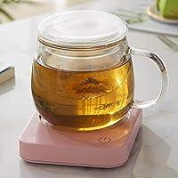 電動カップウォーマーパッ ドデスクトップカップパッドクッションヒー カップウォーマー マグカップ 保温 スマートコーヒーウォーマー 保温コースタース,自動シャットとコーヒー愛好家のためのコーヒーマグウォーマー、デスクトップドリンクウォーマー、オフィスデスク用電気カップウォーマー茶水ココアミルクや家庭20Wベストギフト機能オフ (Color : Pink+cup)