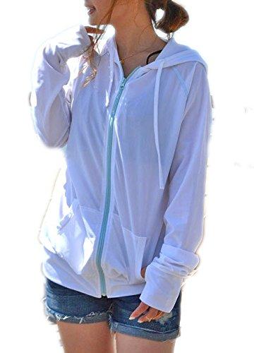 UVケア レディース ラッシュガード 長袖 ラッシュパーカー全6色 UVカット(M-L,ホワイト)