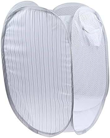 Cabilock Useful 2 Pcs Foldable Pop Up Easy Open Mesh Laundry Clothes Hamper Basket for College Dorm Black