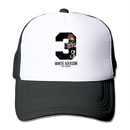 KY メンズ 大人着 ファッション 今季最新 帽子 ゴルフ ハット 男女兼用 ソフト 日焼け止め,紫外線防止 可愛い ホワイト・アイバーソン ポストマローン ナンバー3 ロゴプリント Black