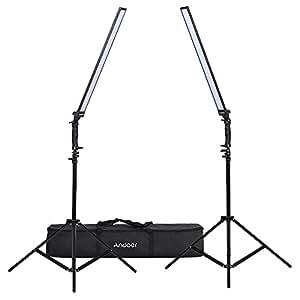 Andoer LED照明キット 写真スタジオ 調光可能  LEDビデオライト ハンドヘルドライトライト ライトスタンド付き 36W 5500K CRI90 + 静物 ファッション 結婚式 アート広告 撮影用