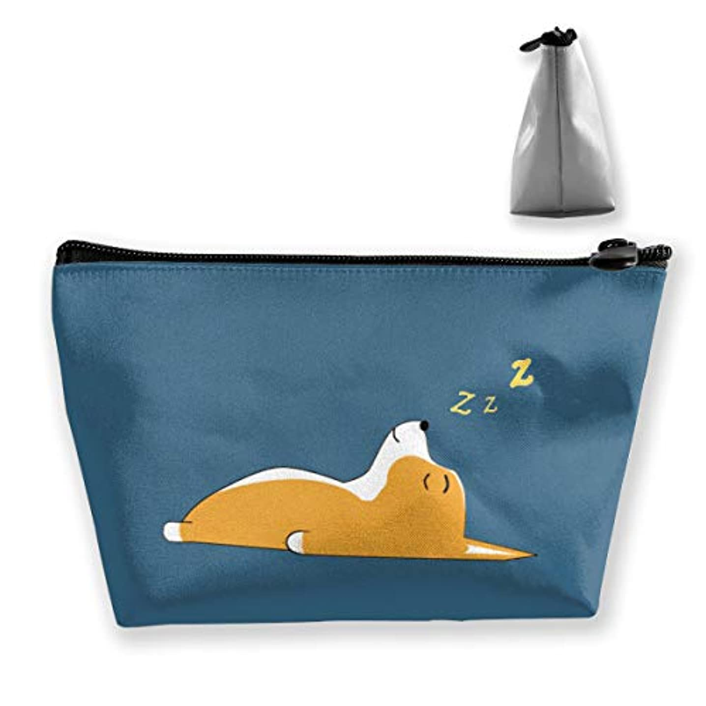 名誉息苦しいにコーギードリームス 収納ポーチ 化粧バッグ 大容量 台形 収納袋 小銭入れ 小物用ケース 携帯便利 防水 出張 旅行