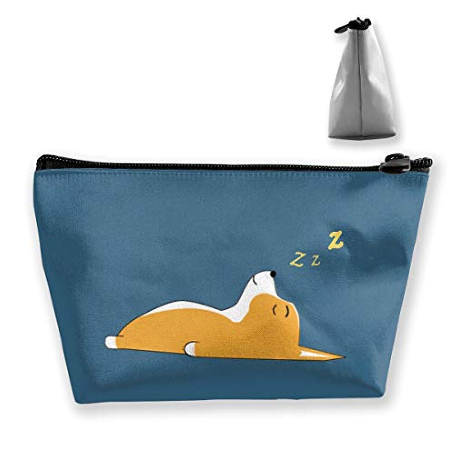 プレゼント選ぶ昇るコーギードリームス 収納ポーチ 化粧バッグ 大容量 台形 収納袋 小銭入れ 小物用ケース 携帯便利 防水 出張 旅行