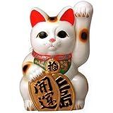 常滑焼?梅月 開運白手長小判猫 招き猫 (左手 10号) 23.5×22×高さ:35cm