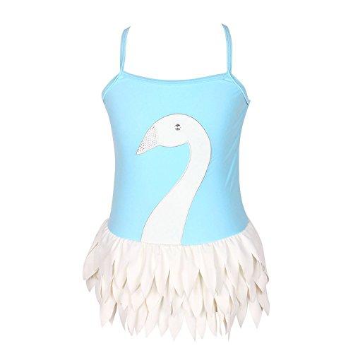 3-12歳女の子の可調節一体式のバレエ白鳥水着(FBA) (10/参照Qyqkflyサイズ表, 藍)