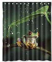 緑のカエルがしがみつく人気のCm古典的なカスタムシャワーカーテンポリエステルバスカーテン60×72で 200X180 CM