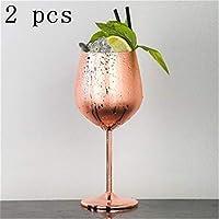 ステンレス鋼赤ワインガラスシルバーローズゴールドゴブレットジュースドリンクシャンパンゴブレットパーティーバーウェアキッチンツール500ミリリットル (Color : Rose Gold 2 pcs)