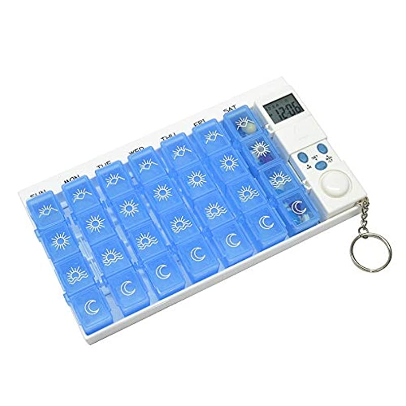 葬儀あえぎホームGM_JS/JP ちり止め28の格子理性的な丸薬箱の電子リマインダーキットの携帯用 (色 : Blue)