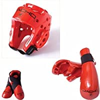 (adult Large, Red) - Macho Dyna 5 piece sparring gear set