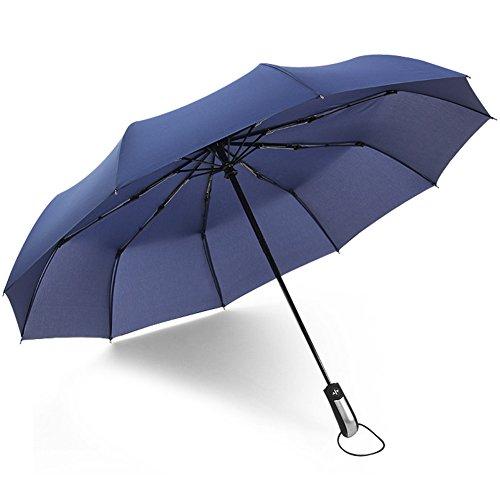 (アドンルル)adunlulu自動開閉折り畳み傘トラベルアウトドア傘、片手操作用自動開け閉めボタン、撥水性 シンプル 10本骨 、持ち運びに便利 ブルー