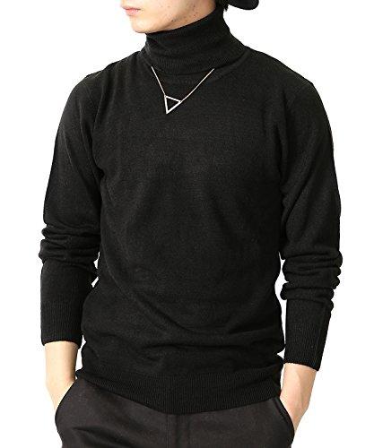 (リピード) REPIDO タートルネック メンズ ニット セーター カシミヤ ボトルネック ブラック Lサイズ