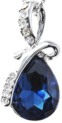 誕生石風 9種類 天使 の 泪 を イメージした ティアドロップ 型 ペンダント 付 ネックレス (アイオライト)