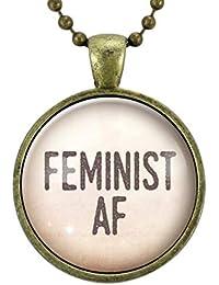 フェミニストAFネックレス、レディースマーチフェミニズムジュエリー、ガールパワージェンダー平等ペンダント