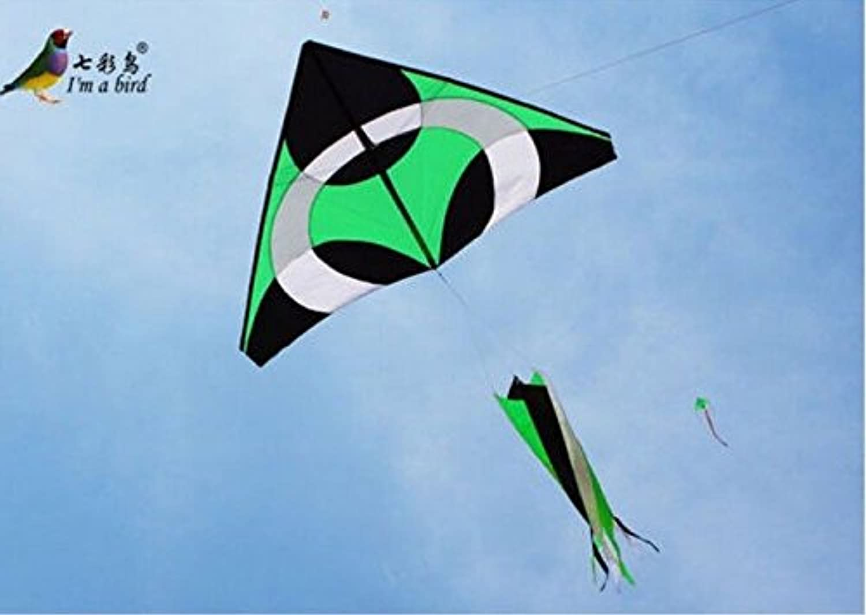 新しい 2 m 緑色の三角形の凧のスパイラルテールスピナー屋外の楽しみのスポーツの新型のおもちゃ - STI#b4err4gr4145e 101255