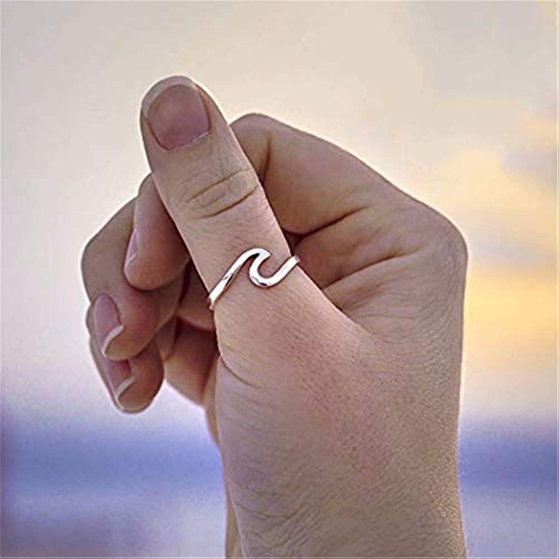 高くはっきりと準備した七里の香 リング 指輪 波 シンプル デザイン チタン鋼 ステンレス レディース 素敵