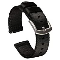 Benchmark Basics Quick Release Watch Band - Seatbelt Nylon Replacement Strap - Choose Color & Width - 18mm, 20mm or 22mm