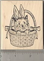 Yorkie Dog In Easter Basketラバースタンプ