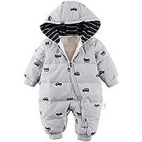 Baby nest ベビー服 男の子 ロンパース 長袖カバーオール ダウンコート ジャンプスーツ 保温 防寒 秋冬用 グレー 9-12M